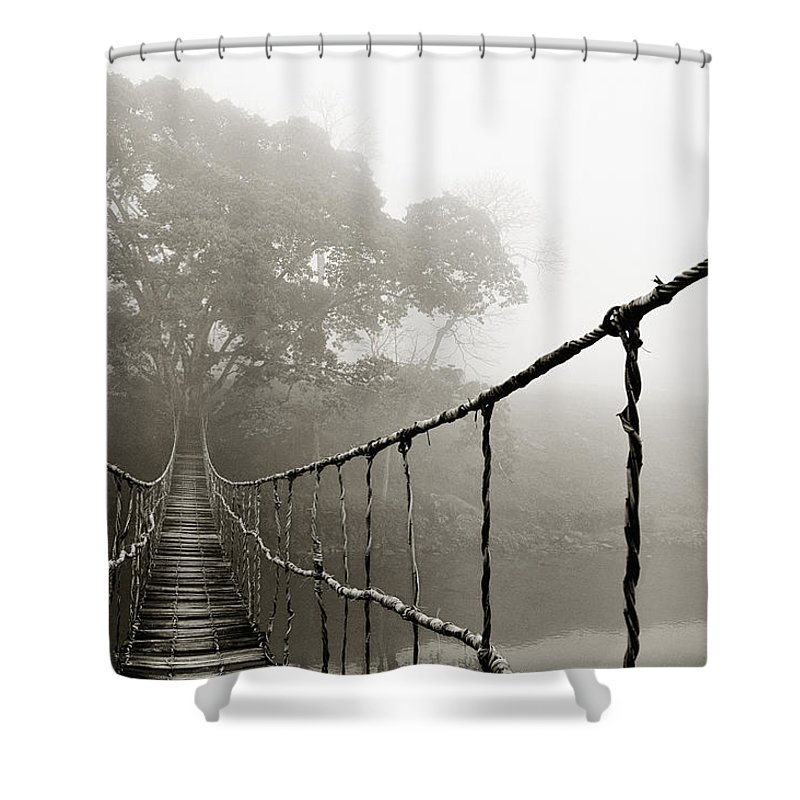 Rope Bridge Shower Curtain featuring the photograph Jungle Journey 6 by Skip Nall
