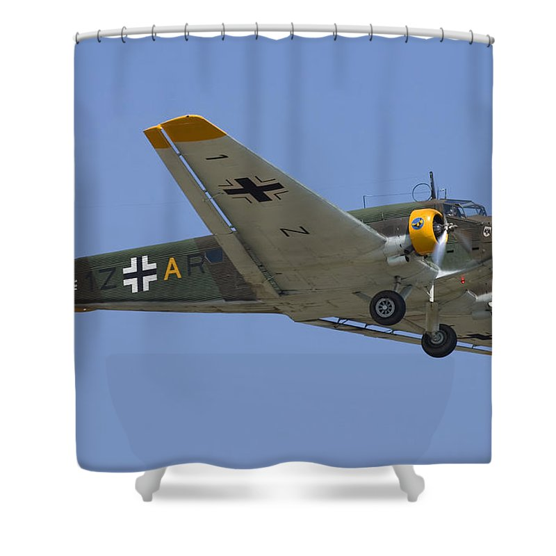 3scape Shower Curtain featuring the photograph Junkers Ju-52 by Adam Romanowicz