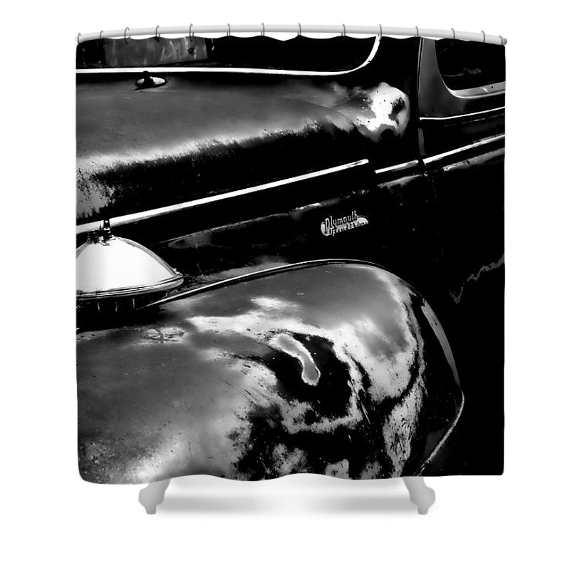 Shower Curtain featuring the photograph Junkyard Series Old Plymouth Black And White by Cathy Anderson