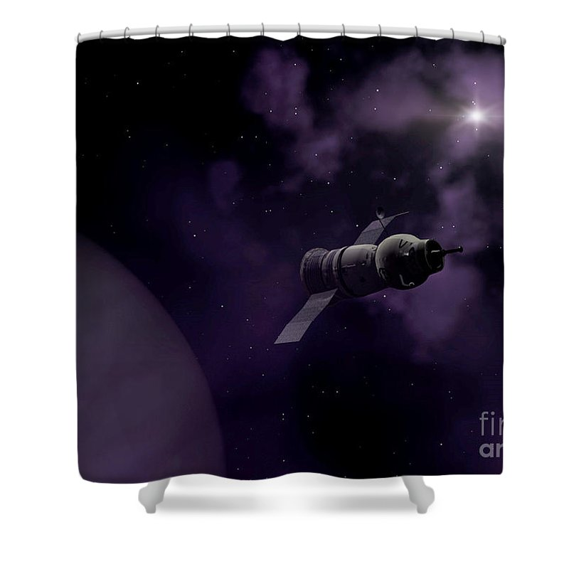 Space Shower Curtain featuring the digital art Jupitor One Exploration by Richard Rizzo