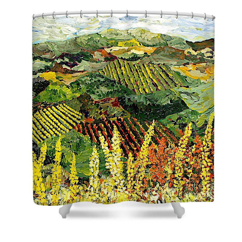 Landscape Shower Curtain featuring the painting Just A Little Valley by Allan P Friedlander