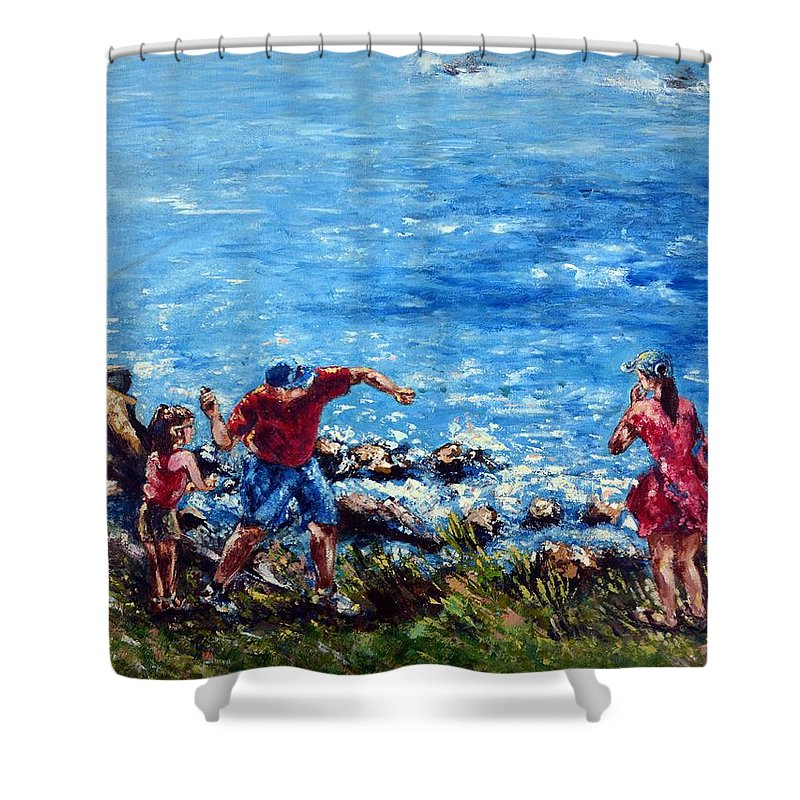 Ocean Shower Curtain featuring the painting Just A Pebble In The Water by Harsh Malik
