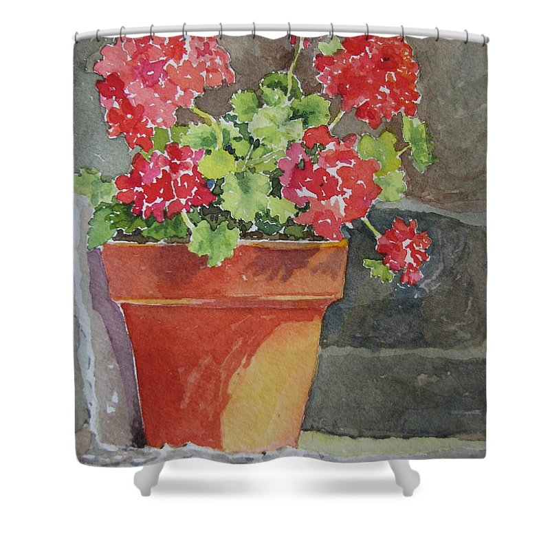 Claypots Shower Curtain featuring the painting Just Basking In The Sun by Mary Ellen Mueller Legault