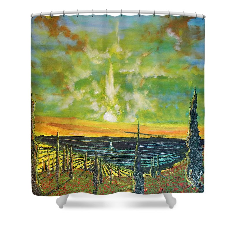 Landscape Shower Curtain featuring the painting Just Beyond The Sea by Stefan Duncan