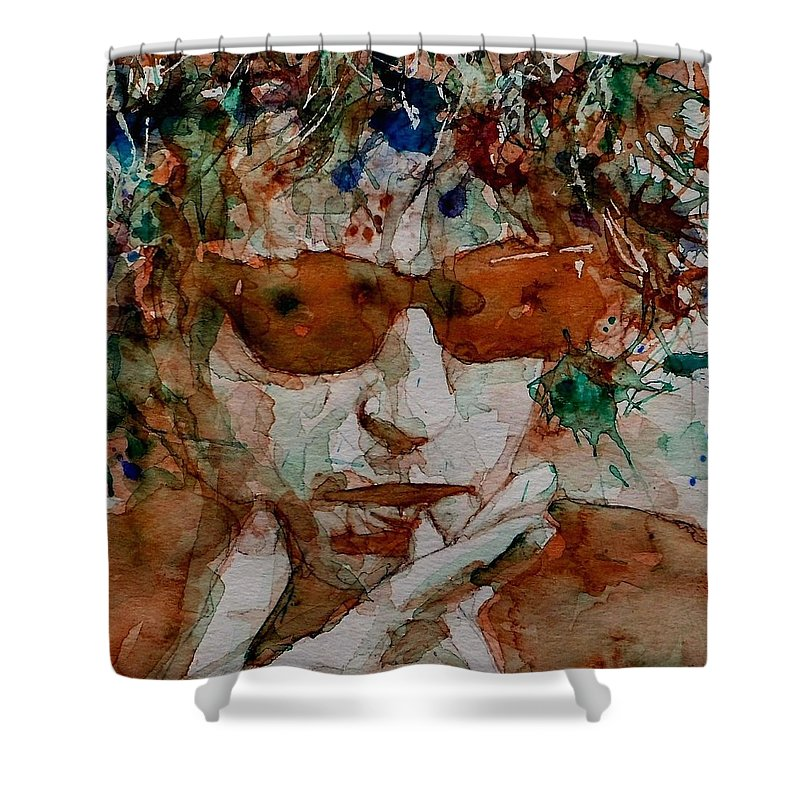 Bob Dylan Shower Curtain featuring the painting Just Like A Woman by Paul Lovering