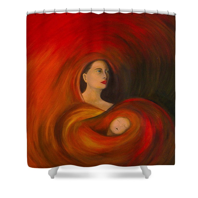 Verve Shower Curtain featuring the painting ..just Love.. by Fanny Diaz