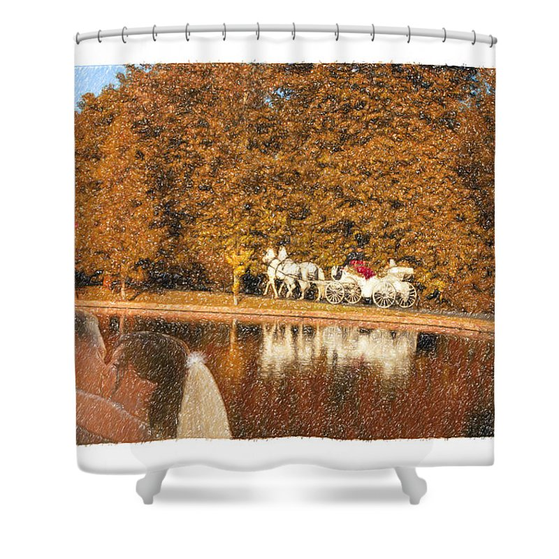 Grand Tradition Shower Curtain featuring the drawing Just Married - A Fairytale by Angela Stanton