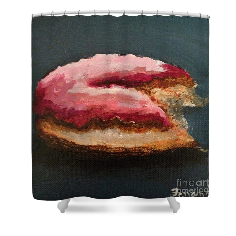 Donut Shower Curtain featuring the painting Just One Bite by Karen Ferrand Carroll