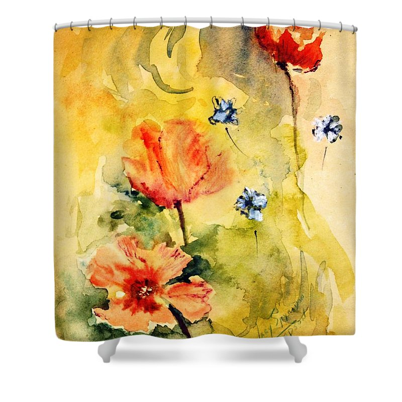 Playful Flowers Shower Curtain featuring the painting Just Play by Mary Spyridon Thompson