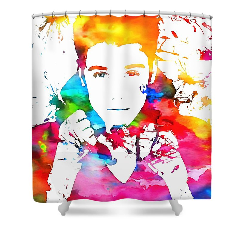 Justin Bieber Watercolor Paint Splatter Shower Curtain Featuring The Painting By