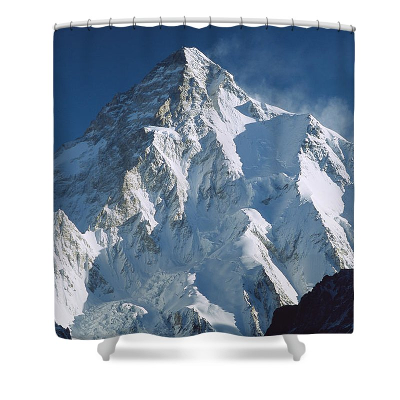 Feb0514 Shower Curtain featuring the photograph K2 At Dawn Pakistan by Colin Monteath