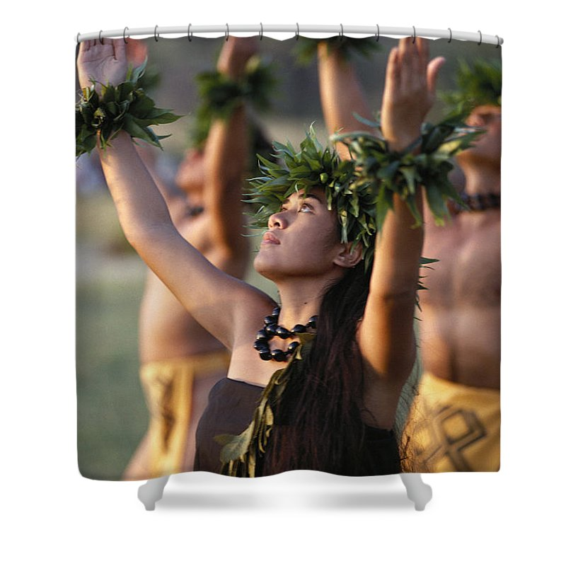 Allan Seiden Shower Curtain featuring the photograph Kahiko Hula Dancers by Allan Seiden - Printscapes