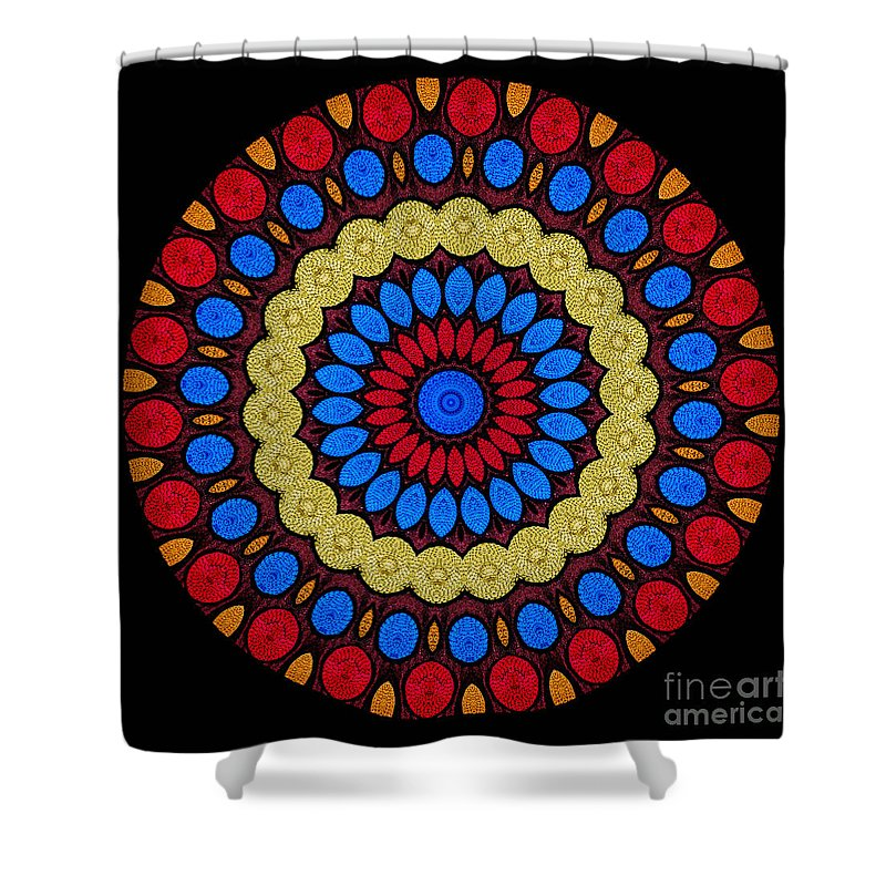 Abstract Shower Curtain featuring the digital art Kaleidoscope Of Colorful Embroidery by Amy Cicconi