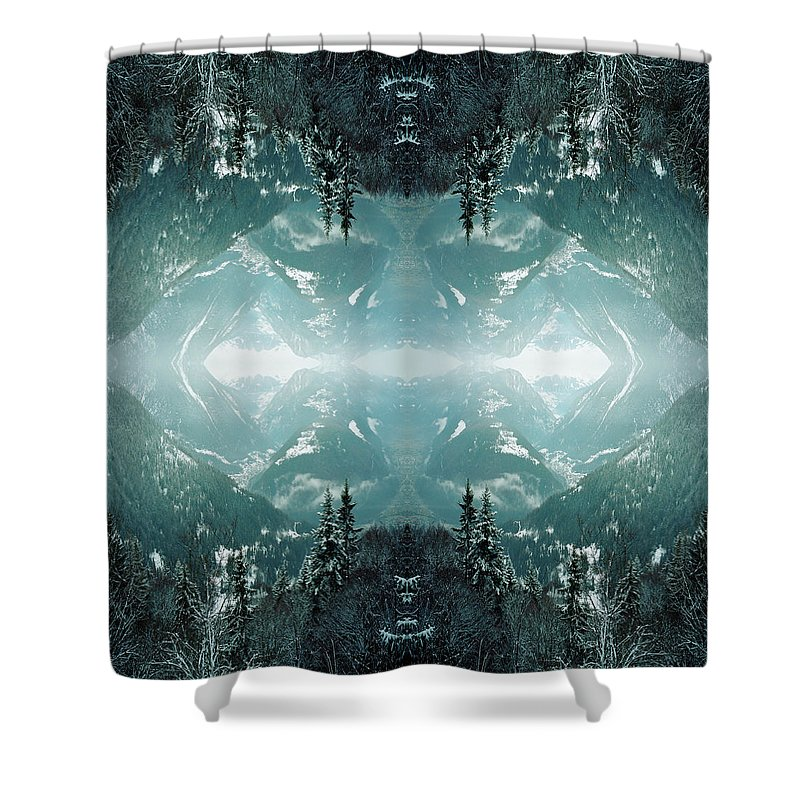 Scenics Shower Curtain featuring the photograph Kaleidoscope Snowy Trees In Mountains by Silvia Otte