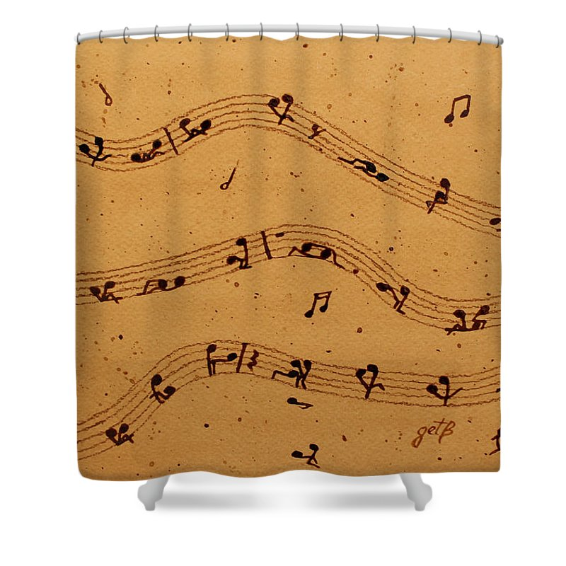 Abstract Music Shower Curtain Featuring The Painting Kamasutra Music Coffee  Painting By Georgeta Blanaru