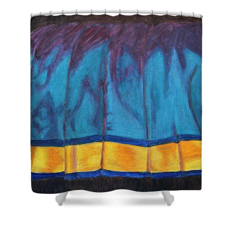 Kanchee Shower Curtain featuring the painting Kanchi Saree by Usha Shantharam