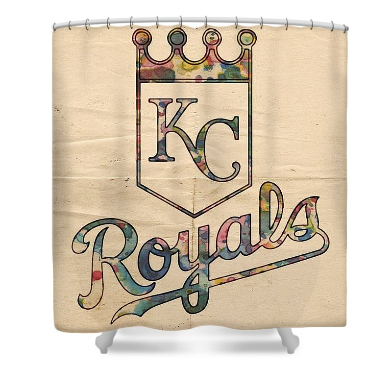 kansas city royals shower curtain featuring the painting kansas city royals poster vintage by florian rodarte