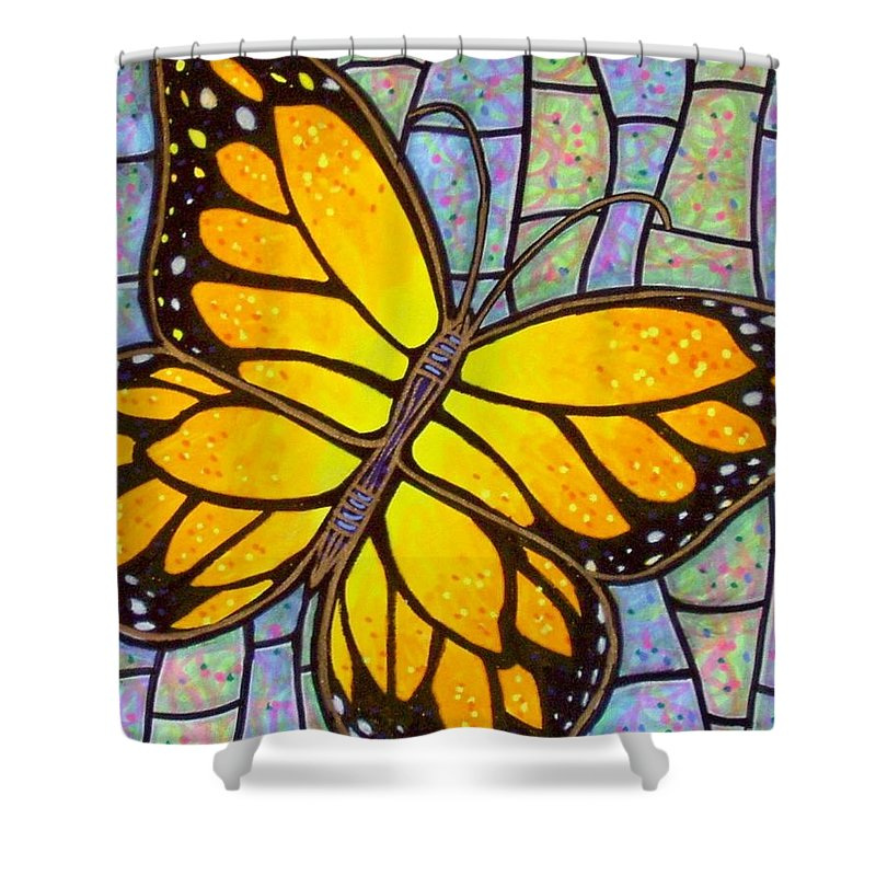 Butterflies Shower Curtain featuring the painting Karens Butterfly by Jim Harris