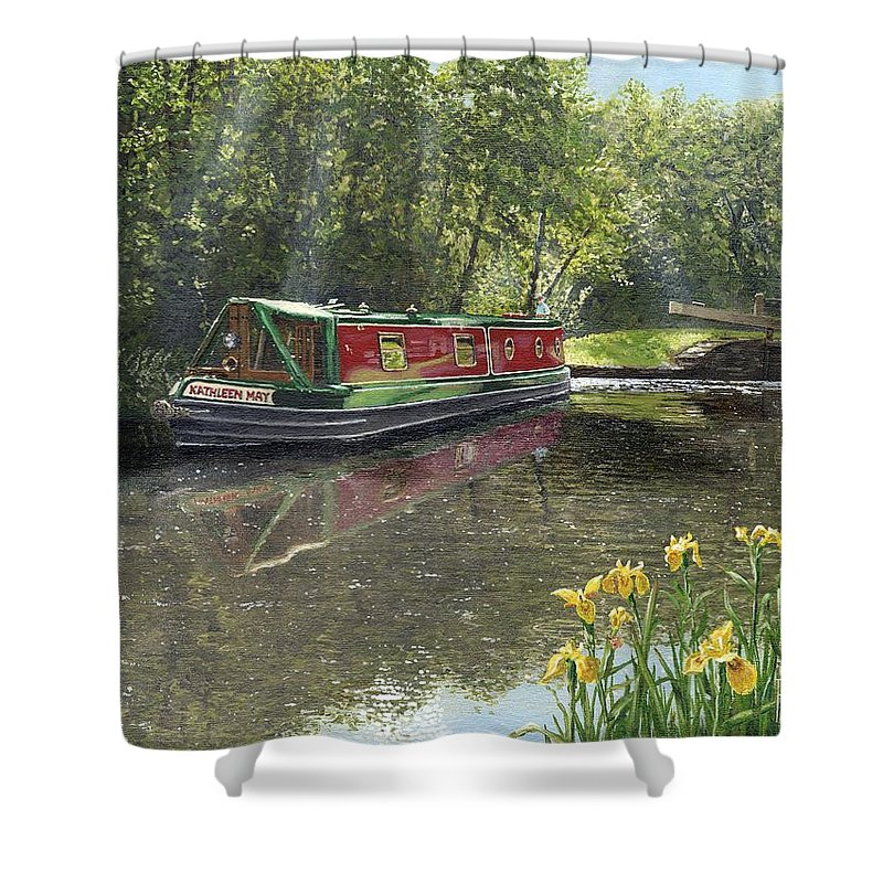 Landscape Shower Curtain featuring the painting Kathleen May Chesterfield Canal Nottinghamshire by Richard Harpum