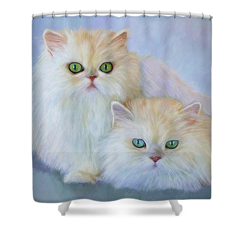 Cat Shower Curtain featuring the painting Katrina And Bjorn by David Wagner