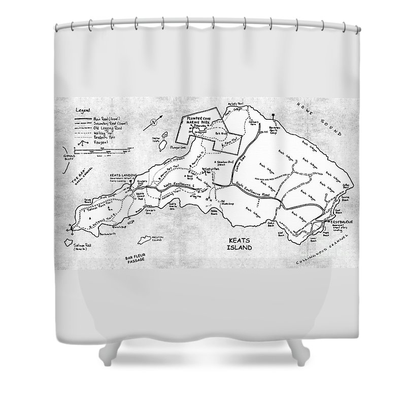Keats Shower Curtain Featuring The Painting Island Map