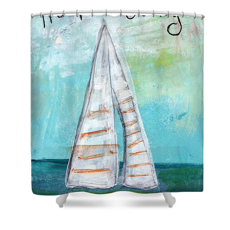 Sailboat Shower Curtain Featuring The Painting Keep Going By Linda Woods