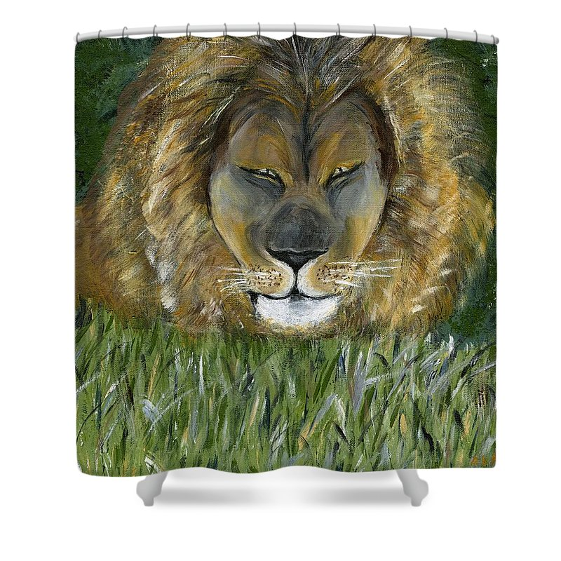Lion Shower Curtain featuring the painting Keep Off The Grass by Alice Faber
