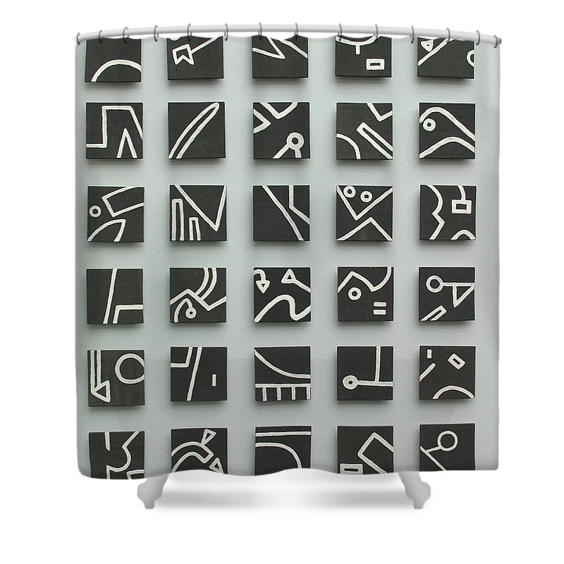 Tile Shower Curtain featuring the relief Keeping Score by Jason Messinger