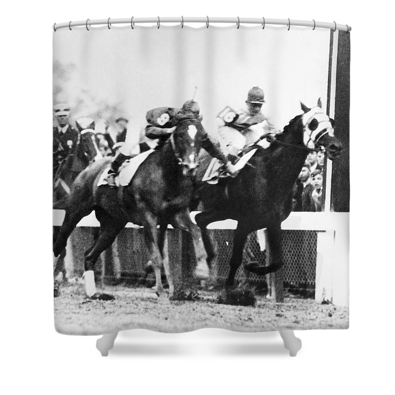 1930s Shower Curtain featuring the photograph Kentucky Derby Foul Play by Underwood Archives