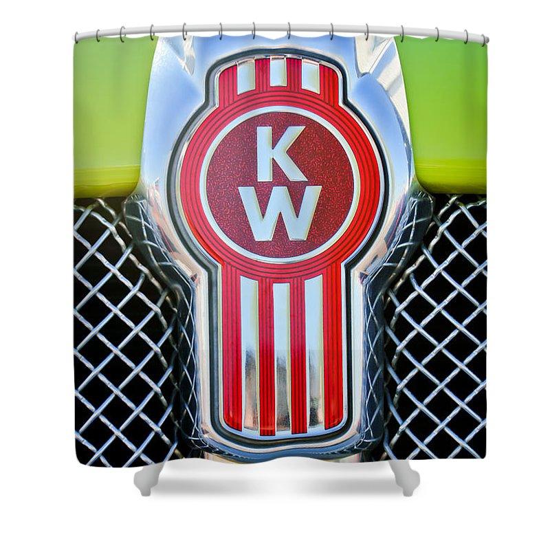 Kenworth Truck Emblem Shower Curtain featuring the photograph Kenworth Truck Emblem -1196c by Jill Reger