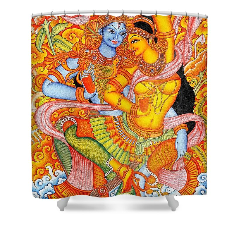 Uspd Pd Art Reproduction Shower Curtain Featuring The Painting Kerala Fresco Mural
