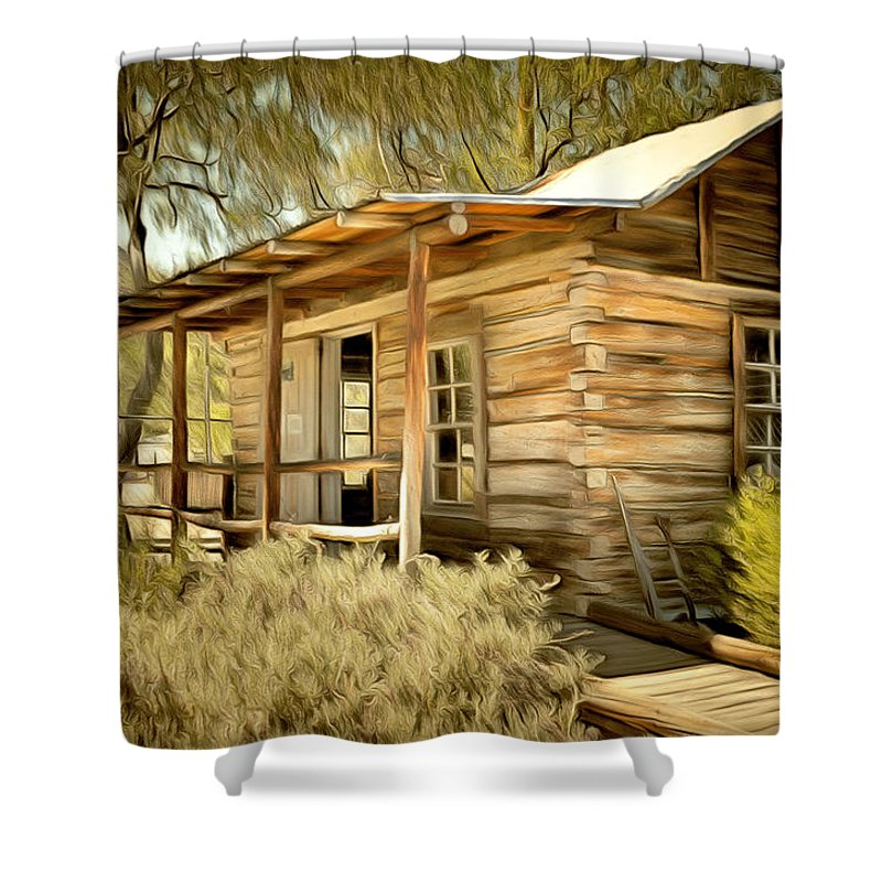 Kern River Miners Cabin Shower Curtain Featuring The Painting By Barbara Snyder
