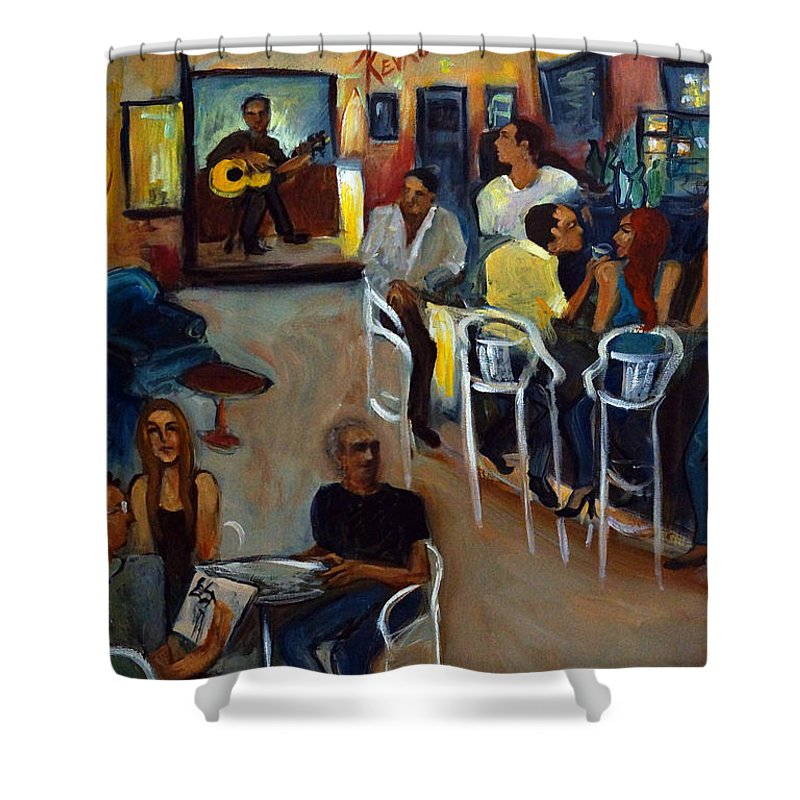 Art Bar Shower Curtain featuring the painting Kevro's Art Bar by Valerie Vescovi