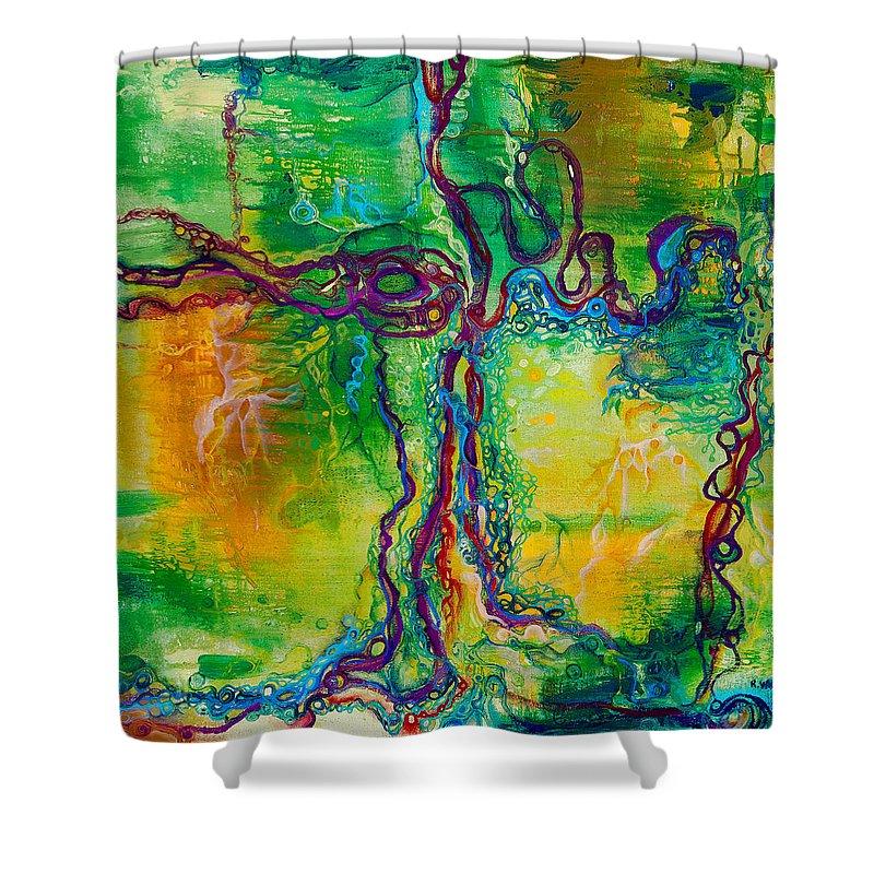 Keystone Shower Curtain featuring the painting Keystone by Regina Valluzzi