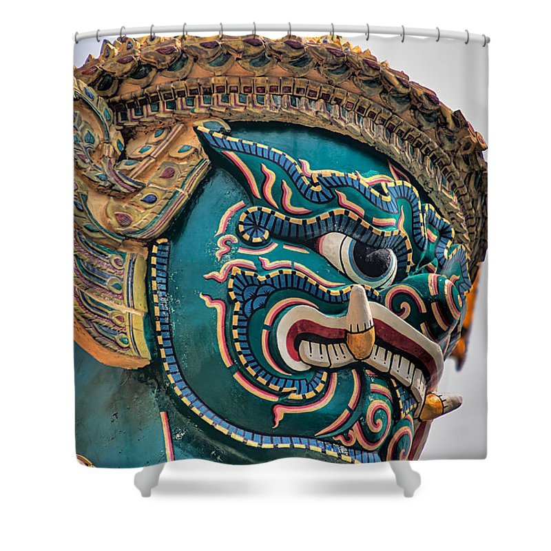 3scape Shower Curtain featuring the photograph Khmer Guard by Adam Romanowicz