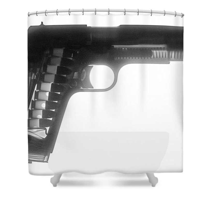 Gun Collectible Shower Curtain featuring the photograph Kimber 1911 by Ray Gunz