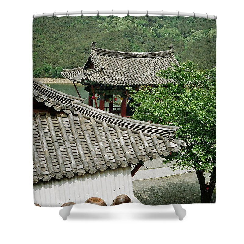 Tranquility Shower Curtain featuring the photograph Kimchi Pots, Tiles And Lanterns by Mimyofoto - Serge Lebrun