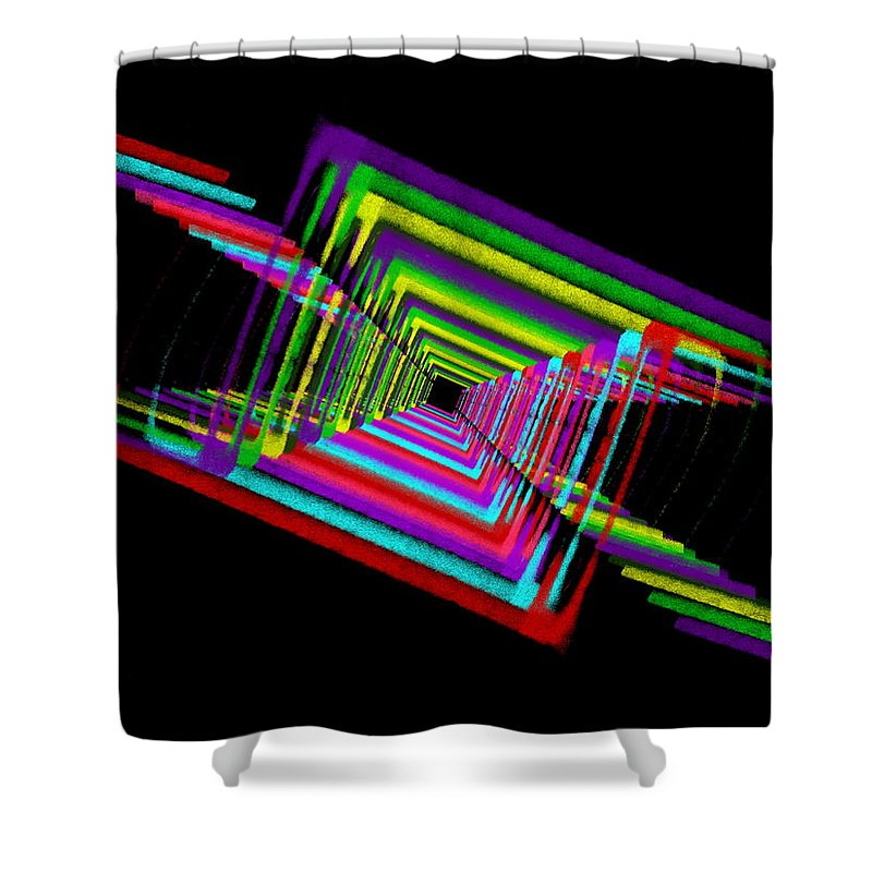 Abstract Shower Curtain featuring the digital art Kinetic Rainbow 17 by Tim Allen