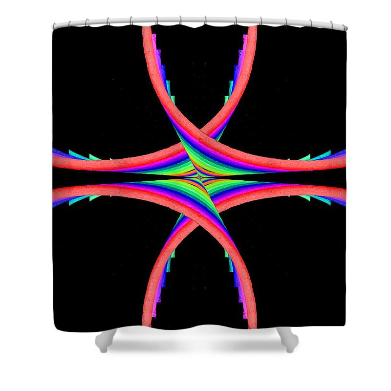 Abstract Shower Curtain featuring the digital art Kinetic Rainbow 40 by Tim Allen