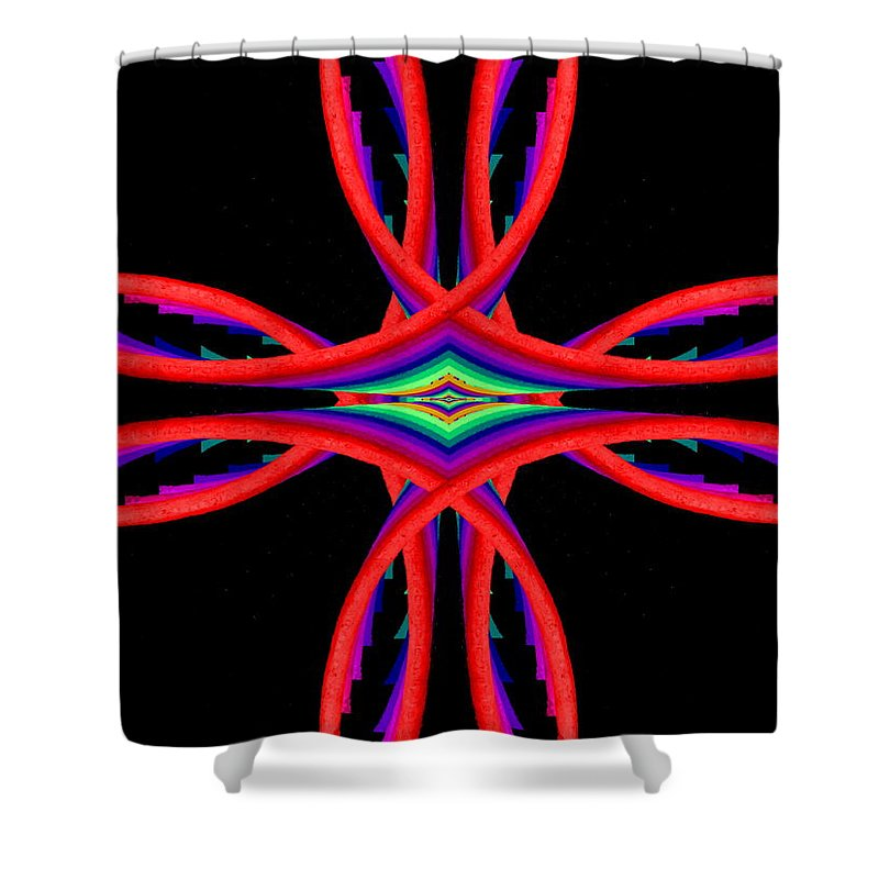 Abstract Shower Curtain featuring the digital art Kinetic Rainbow 41 by Tim Allen