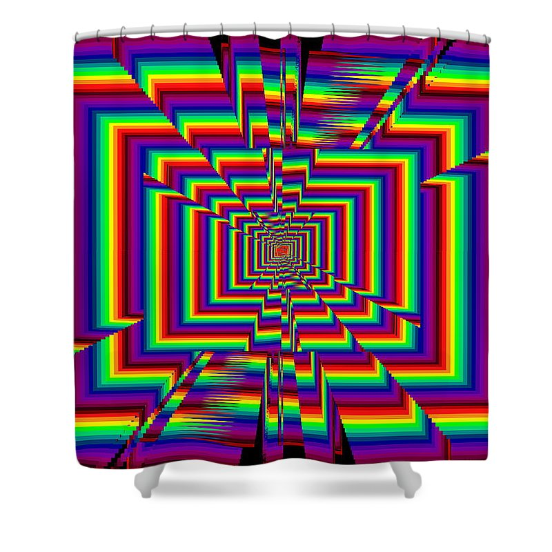 Abstract Shower Curtain featuring the digital art Kinetic Rainbow 42 by Tim Allen
