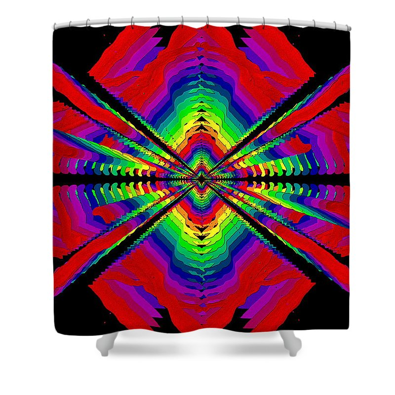 Abstract Shower Curtain featuring the digital art Kinetic Rainbow 44 by Tim Allen