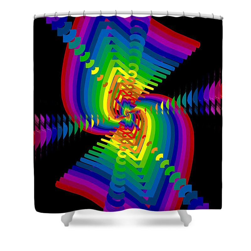 Abstract Shower Curtain featuring the digital art Kinetic Rainbow 47 by Tim Allen