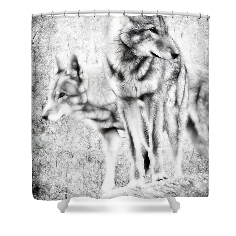 Wolves Shower Curtain featuring the photograph Alpha Male Black And White by Athena Mckinzie