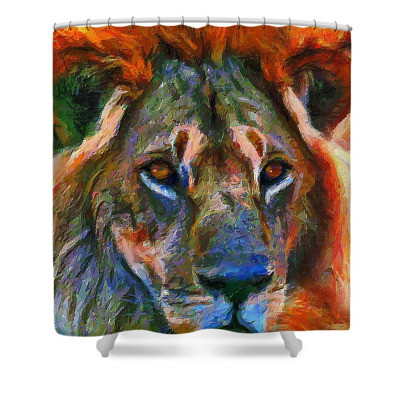 Lion Shower Curtain featuring the mixed media King Of The Wilderness by Georgiana Romanovna