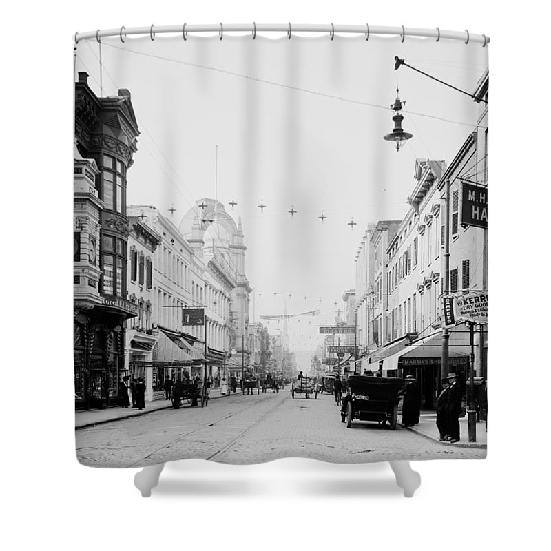 1910 Shower Curtain featuring the photograph King Street In Charleston South Carolina Circa 1910 by Mountain Dreams