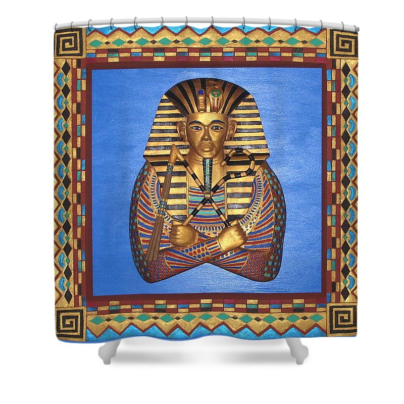 Sculpture Shower Curtain featuring the mixed media KING TUT - Handcarved by Michael Pasko
