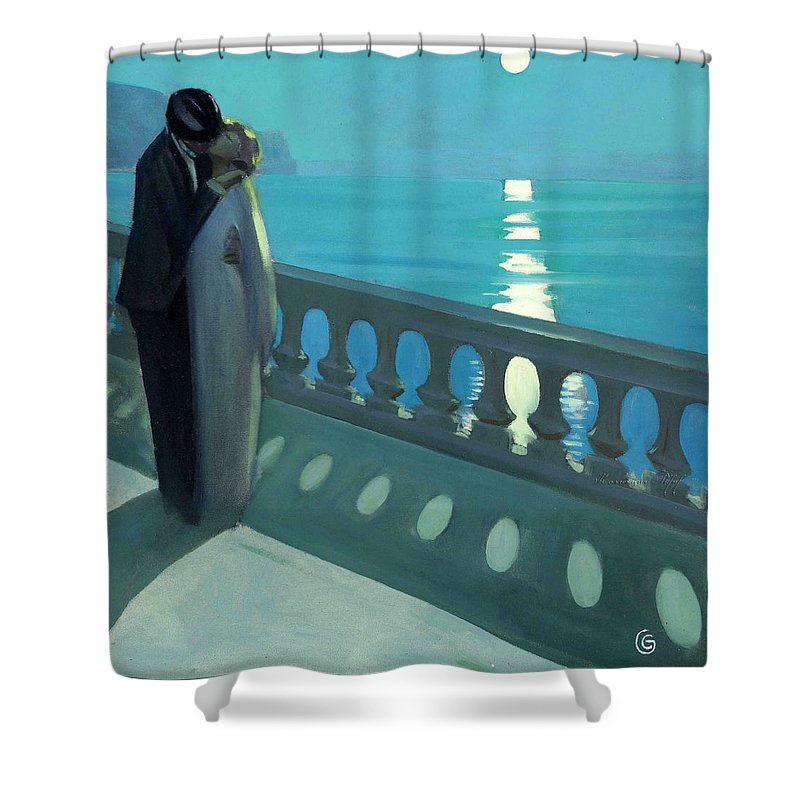 Belgian Shower Curtain featuring the painting Kiss By Moonlight by Unknown 19th century Belgian artist