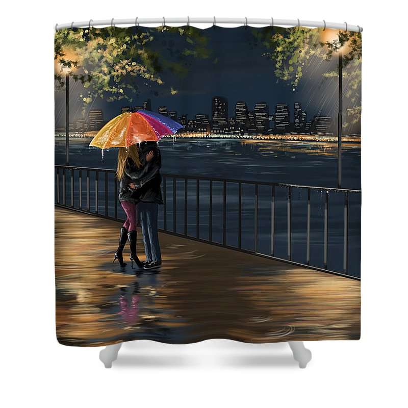Water Shower Curtain featuring the painting Kiss by Veronica Minozzi