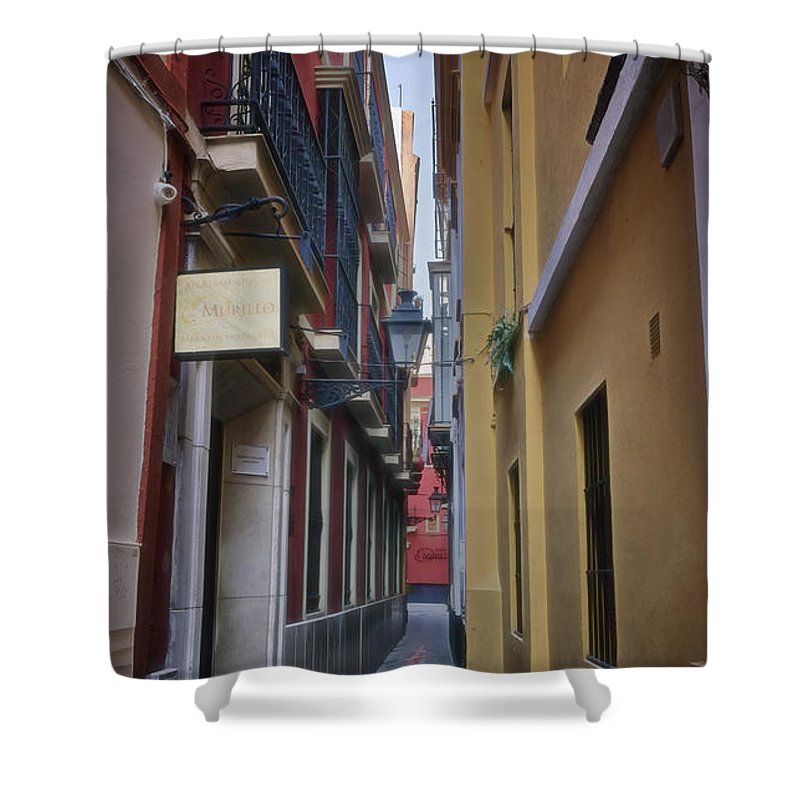 Joan Carroll Shower Curtain featuring the photograph Kissing Lanes Seville by Joan Carroll